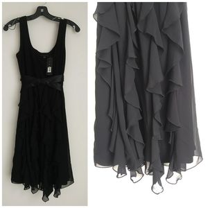 NEW Tiana B LBD tank dress chiffon ruffles satin